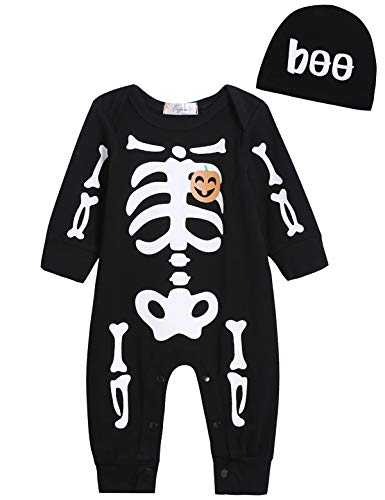 Singcoco Halloween Baby Boys Girls Skull Skeleton Costume Romper with Hat (Black, 3-6 Months)
