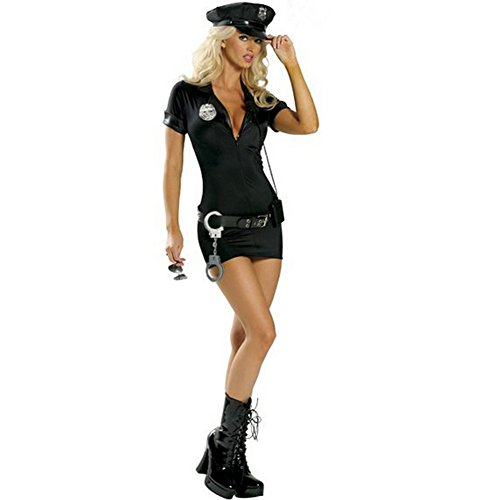 Woman Police Officer Uniform (SSQUEEN Women's Sexy Police Uniform Dirty Cop Officer Masquerade Clothes with Handcuffs)