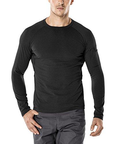 Heatgear Tactical Full T-shirt - CQR Men's Mesh Long-Sleeve Tee Tactical Performance Quick-Dry Tech Top T-Shirt, Tacti-dri(tos200) - Black, 2X-Large