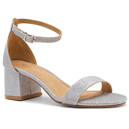 (Herstyle Sunday Women's Open Toe Ankle Strap Block Chunky Low Heeled Sandal Comfortable Office Pump Shoes SilverSM 8.5)