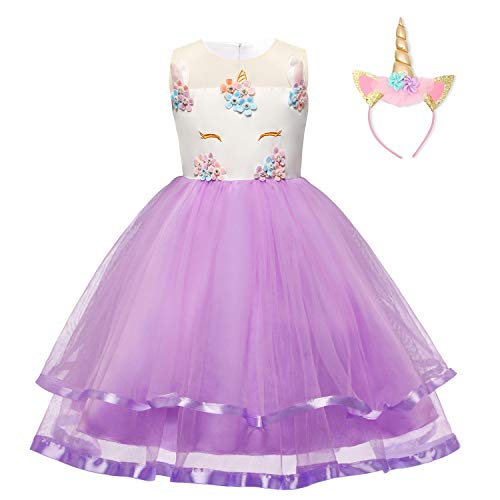 TTYAOVO Girl Unicorn Costume Flower Girls Pageant Princess