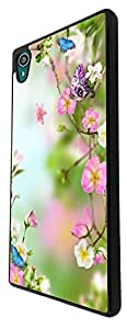 996 - cool fun cute floral flowers flora butterful roses nature shabby chic Design For Sony Xperia Z3 Fashion Trend CASE Back COVER Plastic&Thin Metal - Black