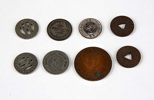 Lot of 8 Vintage Train Fare Tokens & Foreign Coins