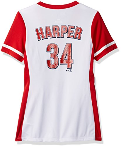 VF LSG MLB Washington Nationals Women's Rugged Competitor Pull Over Color Block Name & Number Player Jersey, Small, White/Athletic Red