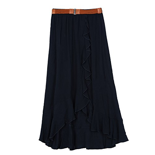 Amy Byer Big Girls' Ruffle Front Maxi Skirt With Belt, Black, S