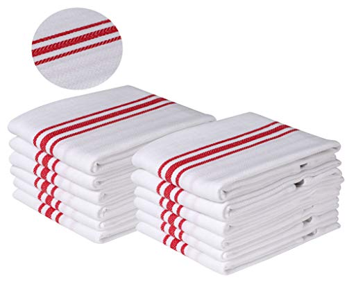 Kitchen Dish Towels with Vintage Scandia Stripes for Kitchen Decor Super Absorbent 100% Natural Cotton Kitchen Towels, Quick Dry, Bar Towels, Cleaning Towels, White Red Stripe, 12-Pack, 18x28