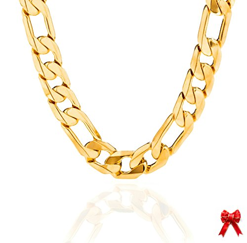 11MM (XXL) Gold Figaro Chain, Stunning 24K Flat Overlay Necklace, Solid Look and Feel, Tarnish-Resistant, Hip Hop Fashion for Men, Guaranteed for Life, Made In USA by Lifetime Jewelry, 36 Inches by Lifetime Jewelry