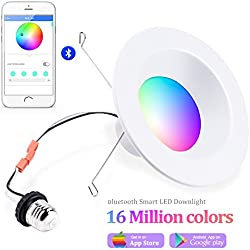 iLintek Smart LED Downlight, 6 inch Multicolored Dimmable,Bluetooth App Controlled,Party Disco Color Changing Light Bulb 2700K-6500K,BLE Mesh Group Controlled,13W-Equivalent 85w,No Hub Required