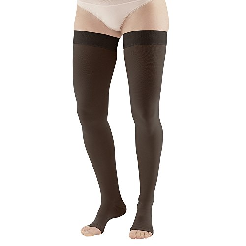 Ames Walker Unisex AW Style 212 Medical Weight Open Toe Compression Thigh High Stockings w/ Silicone Dot Band - 20-30 mmHg Black Medium Long 212L001-01-M-BLACK Nylon/Spandex