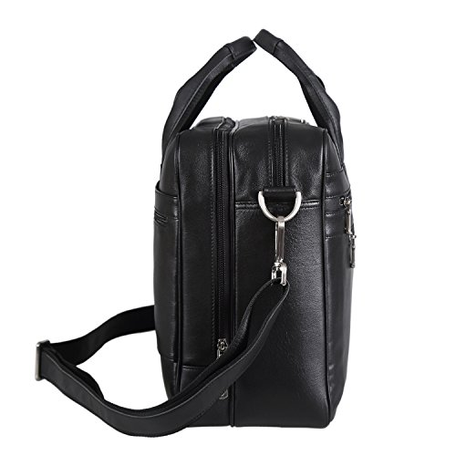 Polare Real Soft Nappa Leather 17 Laptop Case Professional Briefcase Business Bag For Men (Black) by Polare (Image #2)