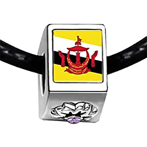 Chicforest Silver Plated Brunei Darussalam flag Photo Light Amethyst Crystal June Birthstone Flower Charm Beads Fits Pandora Bracelet