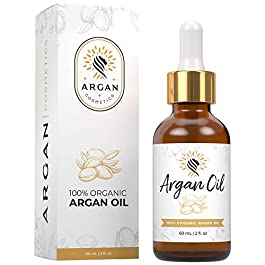 Argan Cosmetics 100% Pure Organic Moroccan Argan Oil for Hair, Skin, Nails, Cuticles, Face & Beards – Cold Pressed, Unscented – Filtered Through Cotton & Charcoal – All Natural Moisturizer – 2 Fl Oz