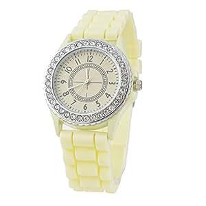 Reloj De Cuarzo Amarillo Claro Silicagel) Reloj de pulsera Mode einfassen diamantes artificiales Digital manecillas