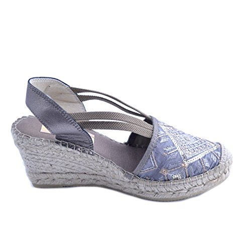Ethnic in Size Women's Gray Rhombus Sandals Design Rubber Wedge tip with Rafia with Sole Fabric 40 Light Vidorreta 7cm B0xwTFw