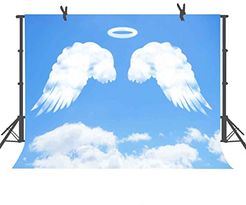- FUERMOR Background 7x5ft Blue Sky White Clouds Angel Wings Photography Backdrop Photo Props Room Mural GEFU220