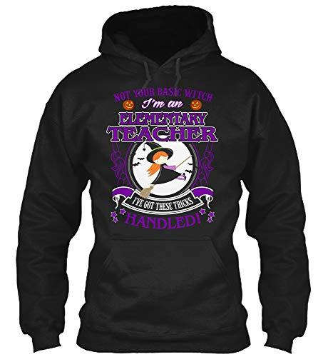 Elementary Teacher t Shirt-not Your Basic with Teacher Halloween Costume Shirt (Gildan 8oz Heavy Blend Hoodie;Black;4XL)