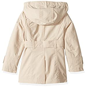 London Fog Little Girls' Double Breasted Belted Trench Coat, Beige With Gingham, 5/6