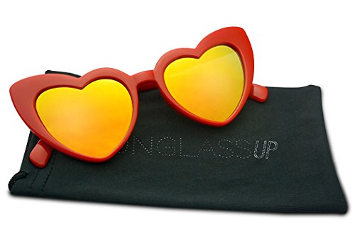 Oversized Lovestruck Round High Tip Heart Shaped Colored Mirror Lens Sunglasses (Red Frame | Fire Red)