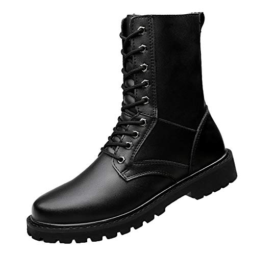 Stivaletti da Uomo in Vera Pelle di Grandi Dimensioni Martin Boots Stivali Militari Lace Up Scarpe Casual High-Top Tooling Black