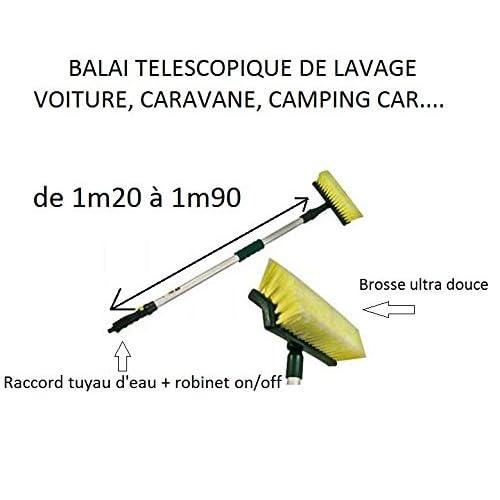 Balai Brosse de lavage téléscopique pour camping car / caravane voiture + raccord d eau on/off