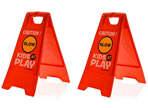 (Essentially Yours 2 Pack Kids Playing Safety Floor Sign for Yards and Driveways (Double-Sided, Red) - Caution, Slow, Kids at Play)