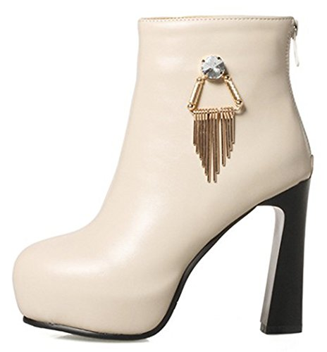High Sweet Pendants Boots Beige Zipper Block Heels Platform With Womens IDIFU Ankle 84qEHH