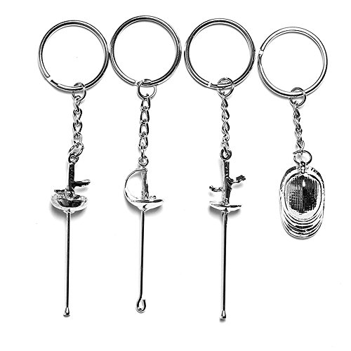 (LEONARK Customized Gift for Fencer - Present for Saber Epee and Foil Fencer - Souvenir Key Chain Pendant for Fencing Sport Fans (Silver) )