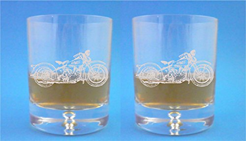 - Pair of Bubble Base Whisky Glasses With Harley Davidson Design with gift box - Includes Engraving up to 30 Characters