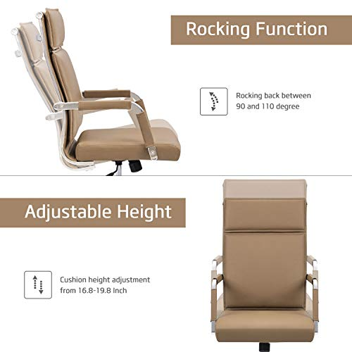 Homall Office Desk Chair Mid-Back Computer Chair Leather Executive Adjustable Swivel Task Chair Conference Chair with Armrests (Brown) by Homall (Image #2)