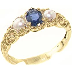 10k Yellow Gold Natural Sapphire & Cultured Pearl Womens Trilogy Ring - Sizes 4 to 12 Available