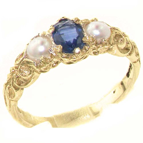 14k Yellow Gold Natural Sapphire and Cultured Pearl Womens Trilogy Ring - Sizes 4 to 12 Available 14k Yellow Gold Natural