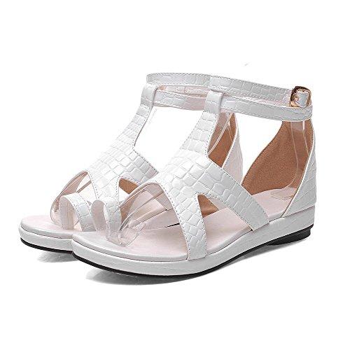 Amoonyfashion Womens Split Toe Tacchi Morbidi Sandali Con Fibbia In Materiale Solido Bianco