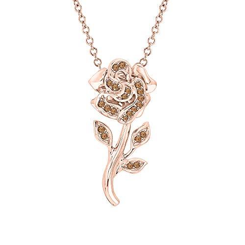 Beautiful Rose Flower Smoky Quartz Pendant Necklace 18k Rose Gold Over 925 Sterling Silver for Girl's ()