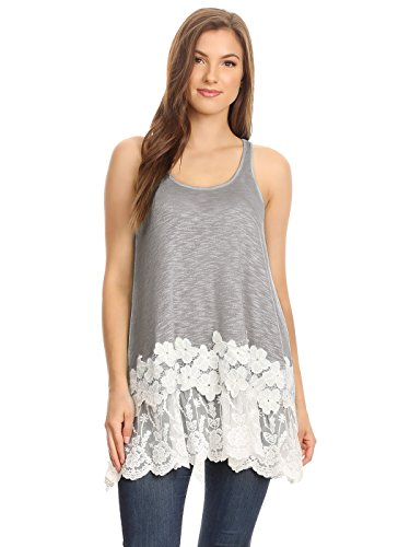 (Anna-Kaci Womens Casual and Comfortable Loose Fit Tunic Tank Top with Lace Trim, Grey, Large)