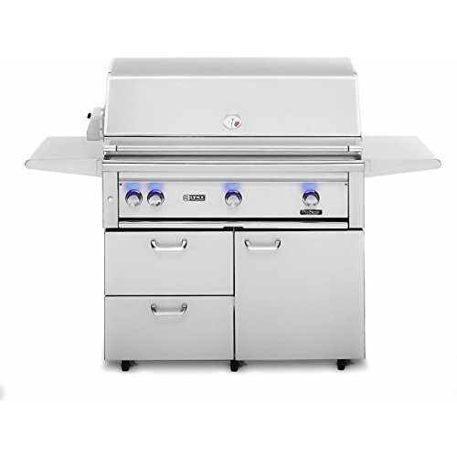 """Lynx 42-Inch L42PSFR-2-LP Or L42PSFR-2-NG Propane or Natural Gas Grill-On Cart with Pro Sear Burner and Rotisserie - With FREE Grill Cover From Premier Grilling (42"""" Propane) Lynx"""