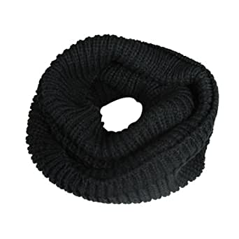 Wrapables Thick Knitted Winter Warm Infinity Scarf - Black