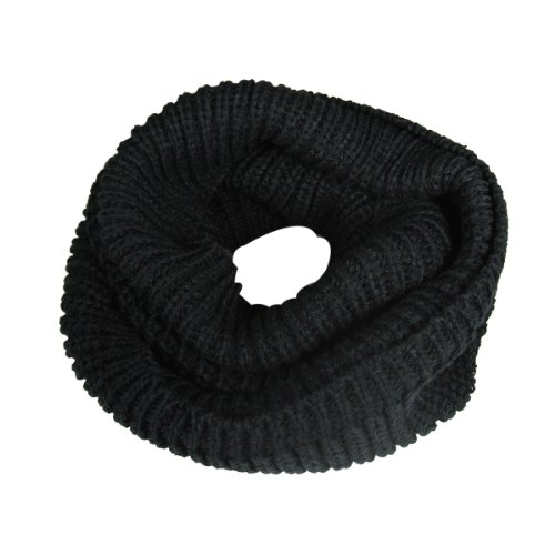 (Wrapables Thick Knitted Winter Warm Infinity Scarf - Black )