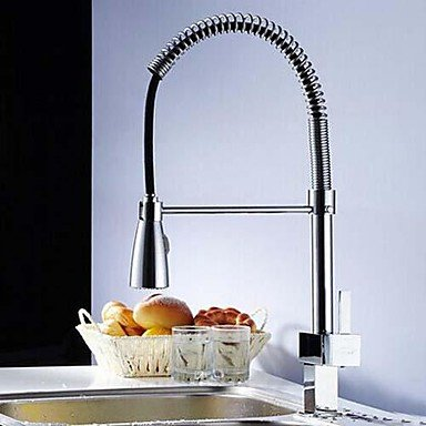 Chrome Finish Single Handle Solid Brass Spring Pull Down Kitchen Faucet
