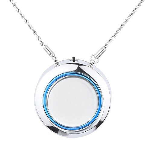 WOOLALA Personal Wearable Air Purifier Necklace/Mini Portable Air Freshner Ionizer/Negative Ion Generator/Low Noise for Adults Kids - Silver