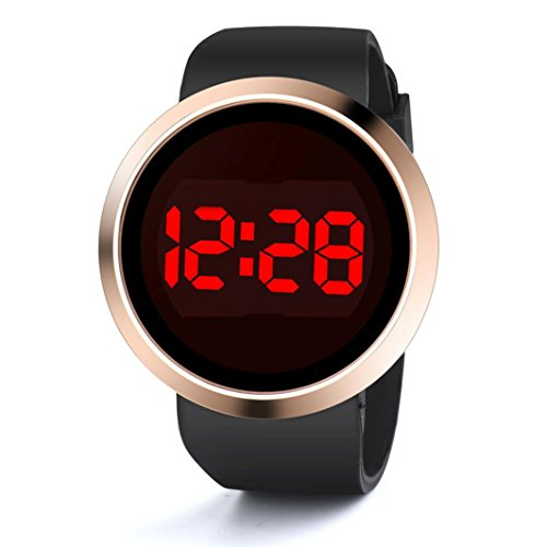 Waterproof Men's LED light Touch Screen Day Date Fashion Silicone Wrist Watch large face display digital (A, Black) - Watch Large Face