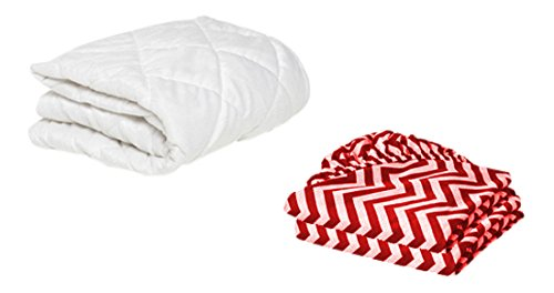 """BKB Bassinet Mattress Protector and 2 Chevron Sheets Combo, Red, 13 x 29"""""""