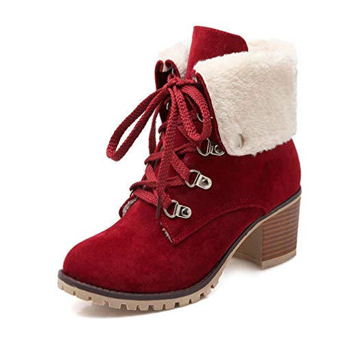 T-JULY Ankle Boots for Women Round Toe Flock Lace up Booties Square High Heels Shoes Keep Warm Winter Snow Boots Red