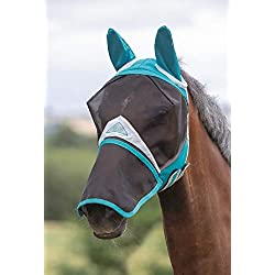 Shires Full Face Fly Mask, Det Nose (Full, Teal)
