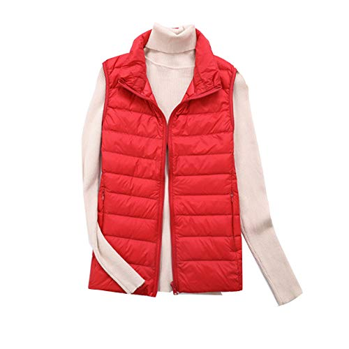 Corpo Collare Ultraleggero Puffer Più Packable Delle Rosso Imbottito Gilet Maniche Gilet Mengyu Casuale Del Caldo Basamento Piumino Donne 4OqAXxv
