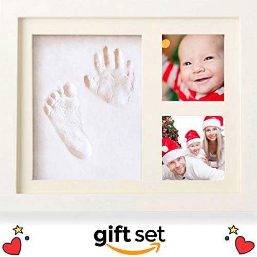 Baby Handprint and Footprint Photo Frame Kit | Gift Set to Include in Your Registry for Baby Shower | Hassle-Free Picture Cropping with Our App | Clay to Create Girl or Boy Babys Handprint Keepsake ()