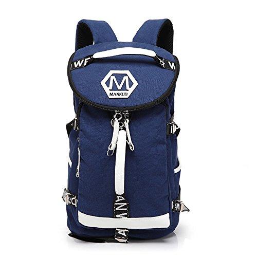 Los Hombres De Personalidad Mochila, Bolsa De Viaje De Ocio, Ordenador Shoulder Bag, Travel Bag, Bolsa De Equipaje, Juventud,Color Azul Y Blanco blue and white color