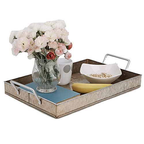 Mind Reader GALITRAY-BRN Cooper Plated Galvanized, Rectangular Serving, Butler Tray with Handles, Breakfast in Bed, Brown, One Size, Copper