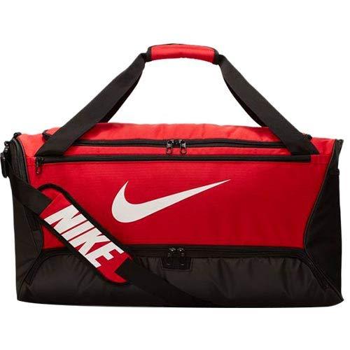 Nike Brasilia Training Medium Duffle Bag, Durable Duffle Bag for Women & Men with Adjustable Strap, University Red/Black/White (Women Training Bag)