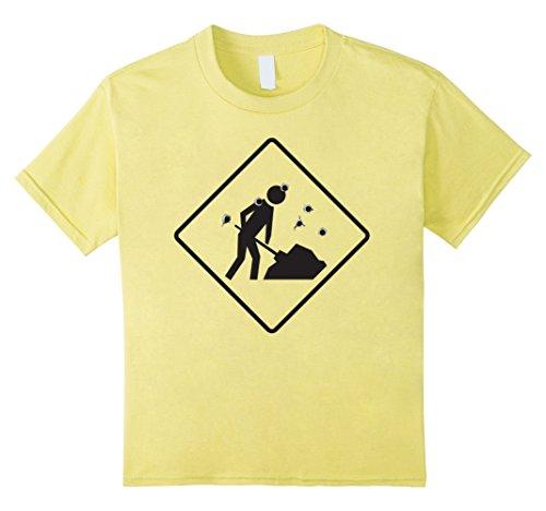 Kids Men Working Road Sign Halloween Costume TShirt Construction 10 Lemon