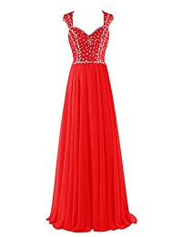 Tideclothes Floor Length Beads Chiffon Hollow Back Prom Evening Dress
